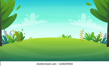 forest nature background . park grass field hill . trees and bushes green peace meadow , summer or spring bright happy funny cartoon vector illustration
