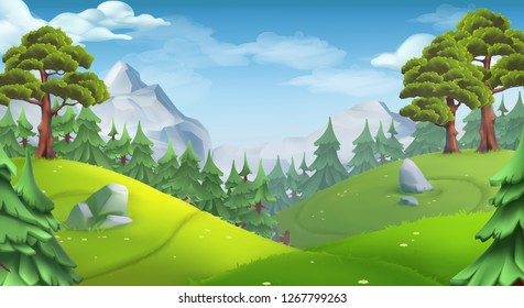 Forest. Nature landscape. 3d vector background