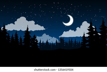 forest night landscape with crescent moon