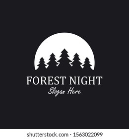forest night logo design inspiration with pine and moon element, vector eps 10