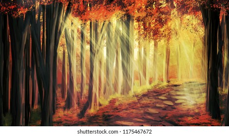Forest with path between autumn trees