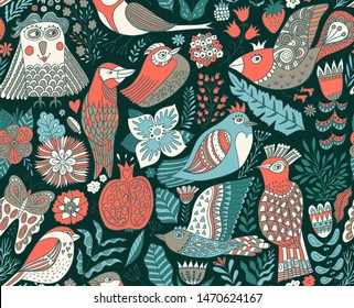 Forest pattern with birds in doodle handdrawn style.