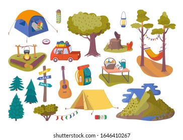 Forest picnic and camping collection set for trip vector illustration. Hiking and trip of camping with travel car, tent in the forest, guitar, trees, backpack and bonfire, picnic camp food.