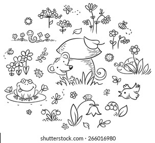 Forest plants and animals set for kids designs, black and white outline