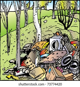 Land Pollution Cartoon...