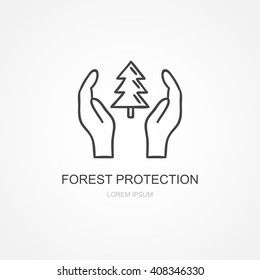 Forest protection icon. Hand drawn nature forest protection illustration. Vector design element with tree and hands
