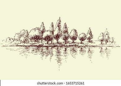 Forest reflecting in water, trees panorama on river shore