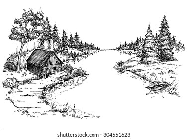 Forest, river, house, boat. Drawn pen on white paper