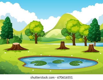 Forest scene with little pond illustration