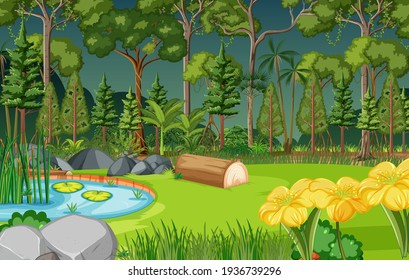Forest scene with pond and many trees illustration
