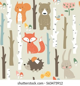 Forest seamless background with cute fox, bear, bunny, elk, hedgehog, birds, mushrooms and trees in cartoon style