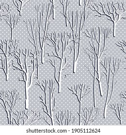 Forest seamless background with park trees. Abstract ornamental polka dot pattern. Vector park landscape illustration. Can be used as wallpaper, pattern fills, surface textures, digital paper.
