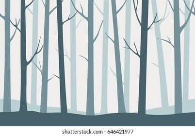 Forest seamless pattern with blue silhouettes of trees