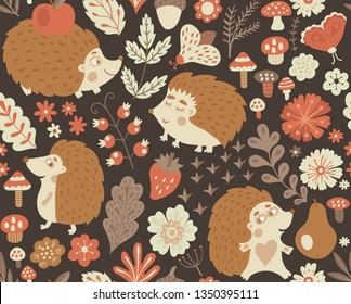 Forest seamless pattern with cute hedgehog, flowers, butterflies. Vector kids illustration, natural backdrop in children style.