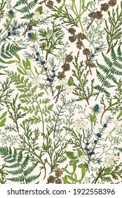 Forest seamless pattern. Floral background. Greens. Vector botanical illustration. Thuja, juniper branches, ferns, mistletoe and snowberry berries, eucalyptus seeds. Vertical.