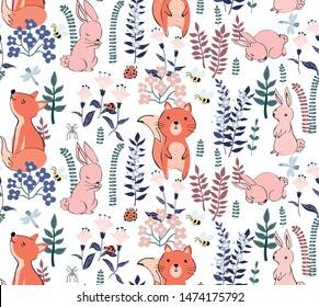 Forest seamless pattern with rabbits, fox and floral elements. Cute   vector hand drawn rabbit background in Scandinavian style. Perfect for wallpapers, fabric, textile. Pastel colors