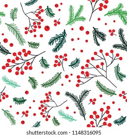 Forest seamless pattern with rowan berry and pine branches. Vector background for wedding, invitations, textile, wrapping paper