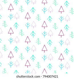 Forest Seamless Pattern . Vector Illustration of Hand Drawn of Various Tree . For Background ,Cover ,Wallpaper ,Novel ,Poster ,Comic ,Kid Magazine , Banner etc.