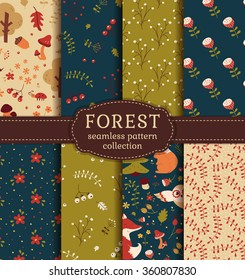 c9080a9c20f Forest seamless patterns with hand drawn animals