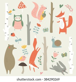 Forest set with cute trees, owl, fox, bear, bunny, snail, squirrel, birds, flowers and mushrooms in cartoon style