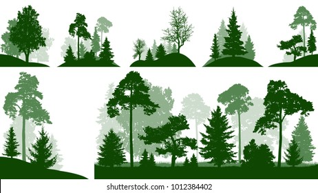 Forest set, trees in the park, silhouette isolated vector