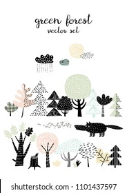 Forest set - wolf and forest trees. Scandinavian stule. Design for poster, card, bag and t-shirt.
