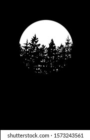 Forest silhouette landscape with white circle moon on black background.Pine and cypress trees hand-drawn art drawing.Christmas tree.Trees stencil decoration element.Happy new year nature wallpaper.