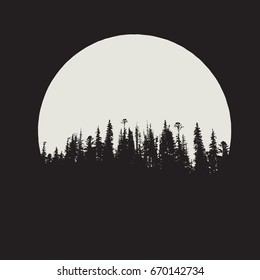 forest silhouette on full moon background.Vector illustration