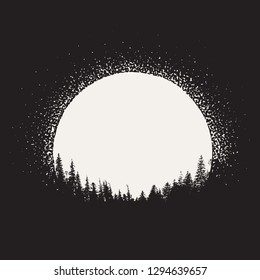 forest silhouette on moonrise background. Prints design. Vector image