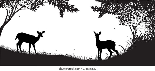 forest silhouette, two small deers shadows, black and white,  bamby, morning, forest life