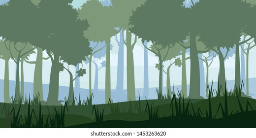 Forest silhouette wood trees, flora bushes and thickets panorama background. Nature and environment conservation concept flat design.Vector illustration.