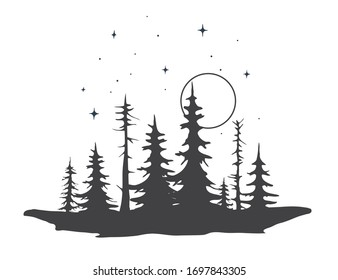 forest silhouette.View to trees .Vector illustration