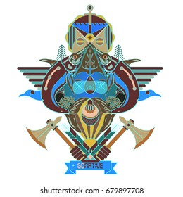 Forest spirit inviting to go native for posters, t-shirts, illustration (abstract vector graphics)