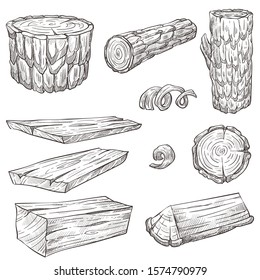 Forest stump and log, wood and wooden natural materials isolated sketches vector. Building and heating, oak or fir tree parts, beam or timber. Baulk round section, construction and furniture making
