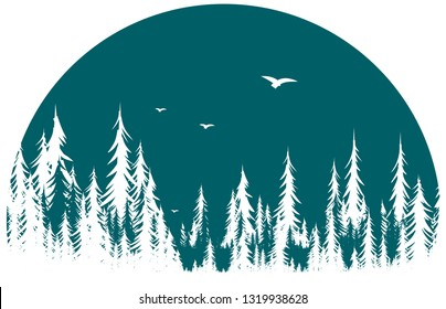 Forest symbol with birds.
