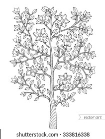 Forest tree, bush, flowers blossom, branch with leaves. Vector. Coloring book page for adults. Hand drawn. Bohemia concept for wedding invitation, card, ticket, branding, logo, label. Black and white