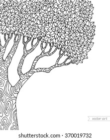 Forest tree isolated, big old tree. Vector botany detailed artwork. Coloring book page for adult. Bohemia concept for invitation, card, ticket, branding, logo, label, emblem. Black and white