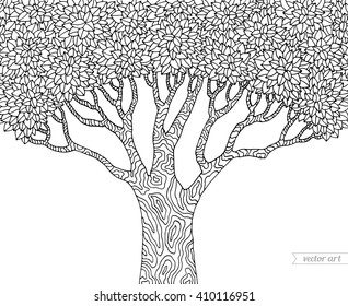 Forest tree isolated, big old tree. Vector tree, botany detailed artwork. Coloring book page for adult. Bohemia concept for invitation, card, ticket, branding, logo, label, emblem. Black and white