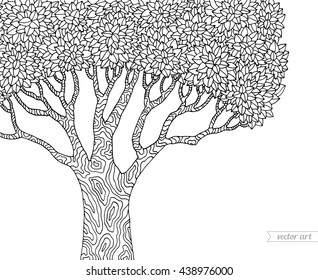 Forest tree isolated, big old tree. Vector botany detailed artwork. Coloring book page for adult. Park scene concept for invitation, card, ticket, branding. Black and white forest tree