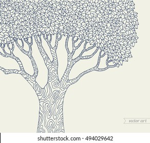 Forest tree isolated, big old tree. Vector botany detailed artwork. Coloring book page for adult. Bohemia concept for invitation card, ticket, branding, logo label, emblem. Monochrome dark blue, beige