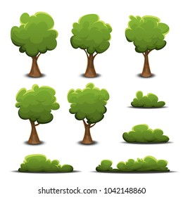 Forest Trees, Bush And Hedges Set/ Illustration of a set of cartoon design spring or summer green forest trees and other plants and elements like foliage, bush and hedges