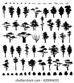 Forest trees collection silhouette vector.  Nature grass and bushes.