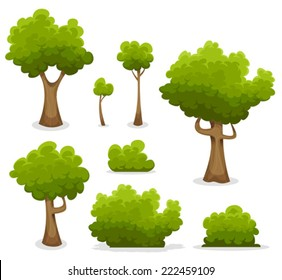 Forest Trees, Hedges And Bush Set/ Illustration of a set of cartoon spring or summer forest trees and other green forest elements, foliage, bush, hedges