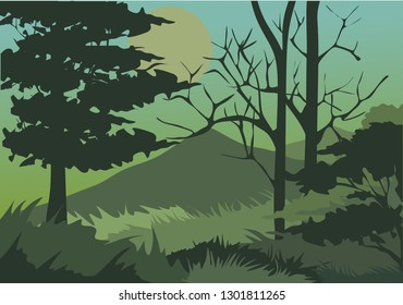 forest with the trees ,mountain for background and vector illustration