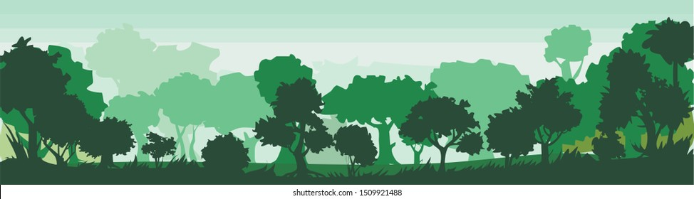 Forest. Trees and shrubs. Adults and young. Green summer landscape. Lawn in the forest. Spring morning, day. The sky is in green. Matins fog. Overgrown hills. Horizon. Landscape. Scenery. Nature.