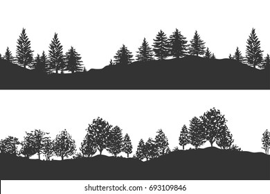 Forest trees silhouettes background vector illustration. Horizontal abstract banner of hills covered with wood in black and white.