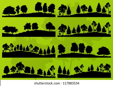 Forest trees silhouettes landscape illustration collection background vector