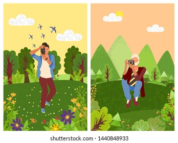 Forest with trees and tourist making shoots on photo camera. Vector man photographer in trousers and shirt, bag on shoulder and natural landscape, rest outdoors