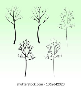 Forest trees without leaves. Winter trees set, silhouette vector. Сollection of isolated tree trunks with knots. different styles