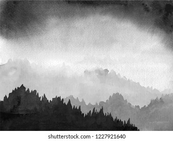 Forest valley in fog and black clouds. Traditional Japanese ink wash painting sumi-e